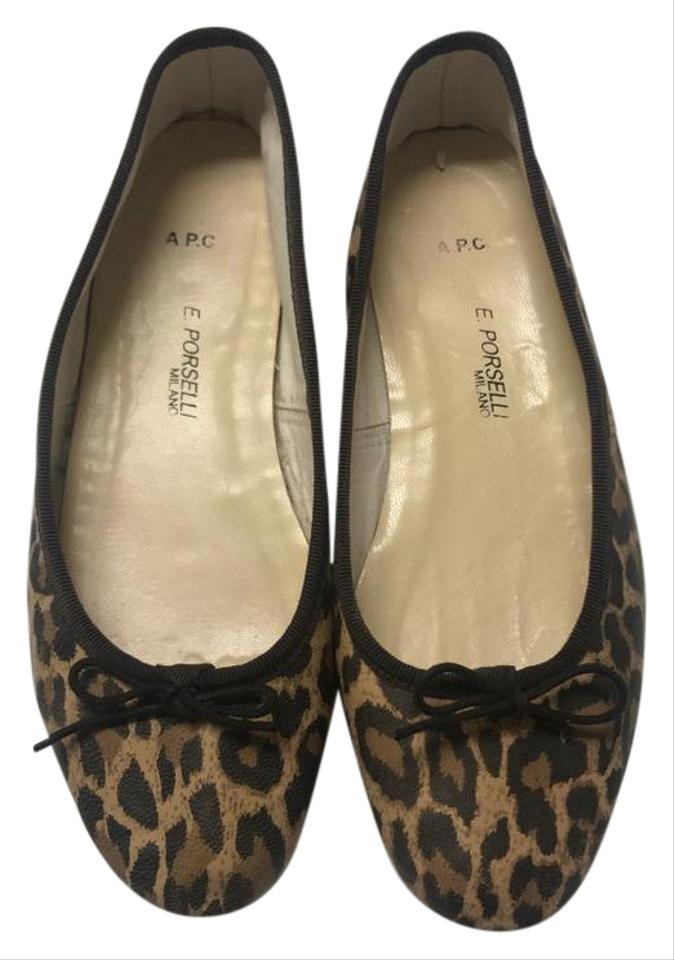 1ff8faccd A.P.C. Animal Print Leopard Leather Ballet Flats Size US 7 Regular ...