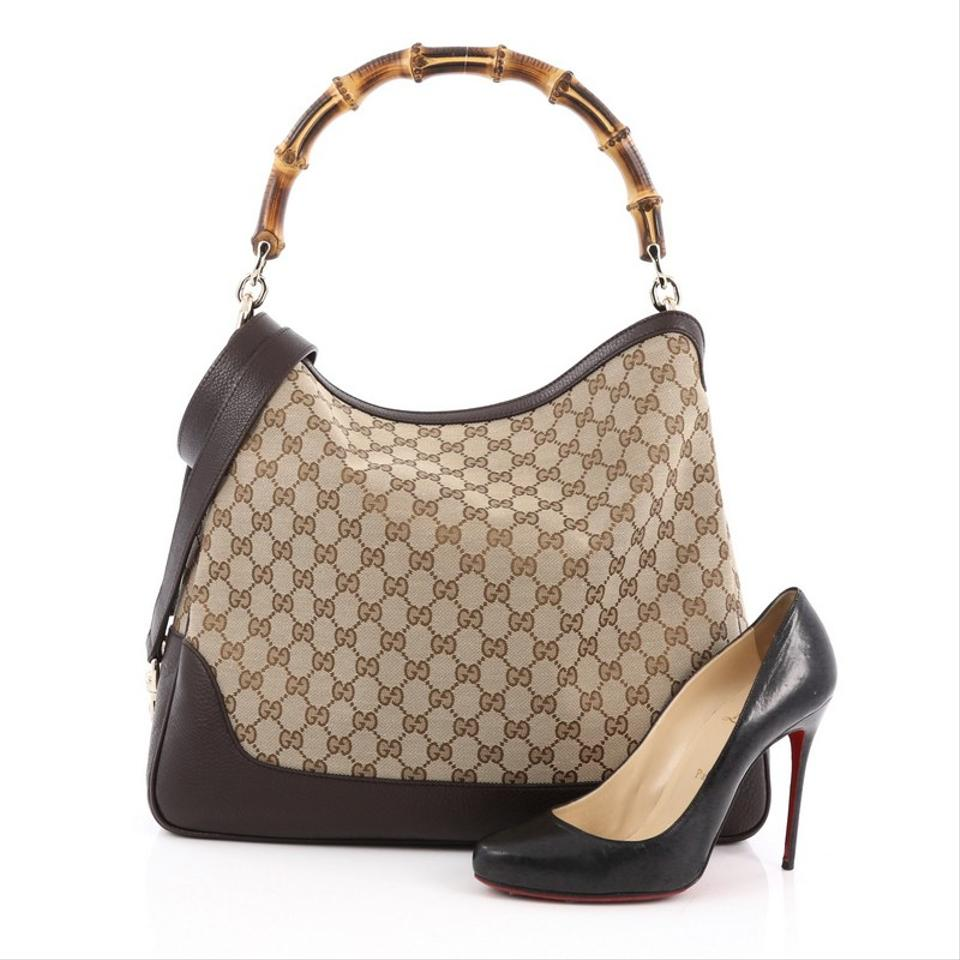 a6459d8d1025 Gucci Diana Bamboo Gg Medium Brown Canvas Shoulder Bag - Tradesy