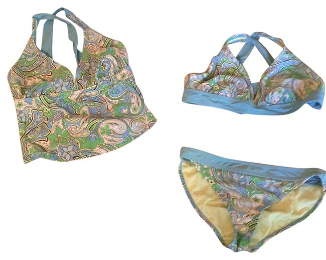 Item - Blue/Green Floral Print Cropped with Additional Bikini Top Tankini Size 4 (S)