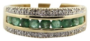Modern Vintage Gorgeous 14K Emerald and Diamond ring