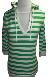 Gap Hooded 3/4 Sleeve T Shirt Green/White Stripe