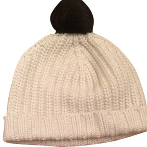 Kate Spade Kate Spade Sliver Lined White Hat With Black Pom Pom