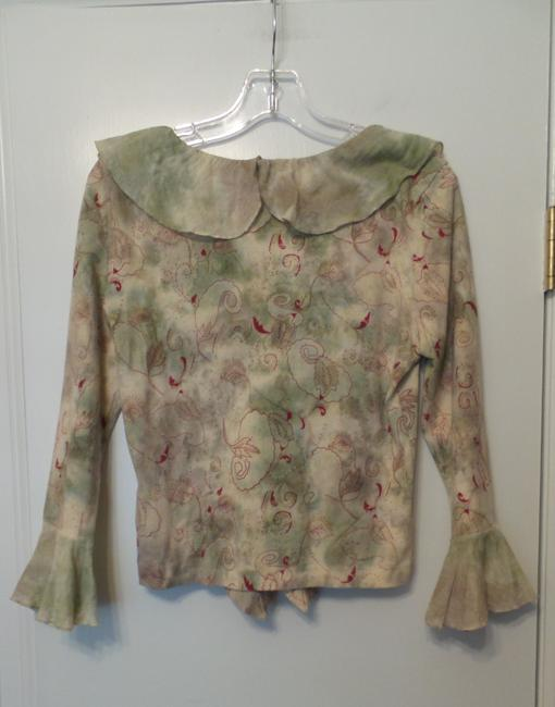 Language Knit Anthropologie Large New Top Off-white, green, red Image 1