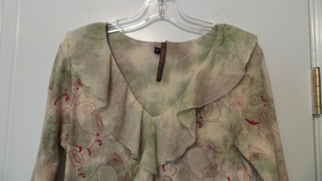 Language Knit Anthropologie Large New Top Off-white, green, red Image 5