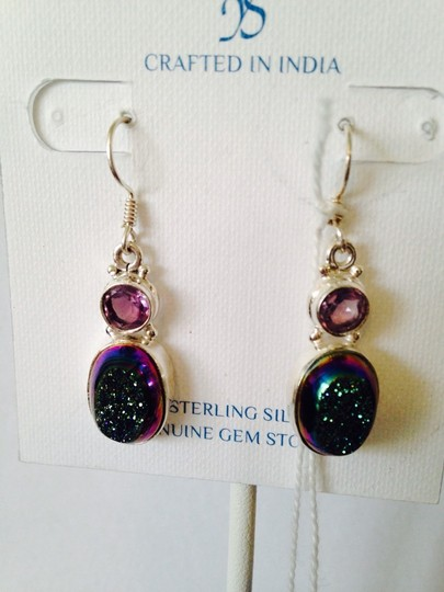 JS Collections Blue/Green Drusy & Faceted Amethyst Image 1