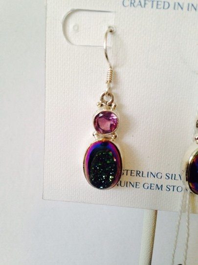 JS Collections Blue/Green Drusy & Faceted Amethyst Image 2