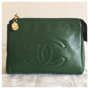 Chanel Auth CHANEL CC Cosmetic Bag Pouch Green Caviar Skin Leather Vintage