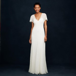 J.Crew Ivory A0368 Beaded Gown Vintage Wedding Dress Size 0 (XS)