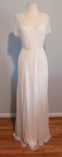 J.Crew Ivory A0368 Beaded Gown Vintage Wedding Dress Size 0 (XS) Image 4