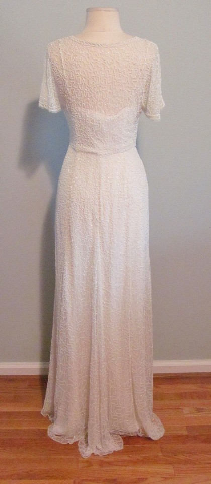 J crew ivory a0368 beaded gown vintage wedding dress size for J crew wedding dress size chart