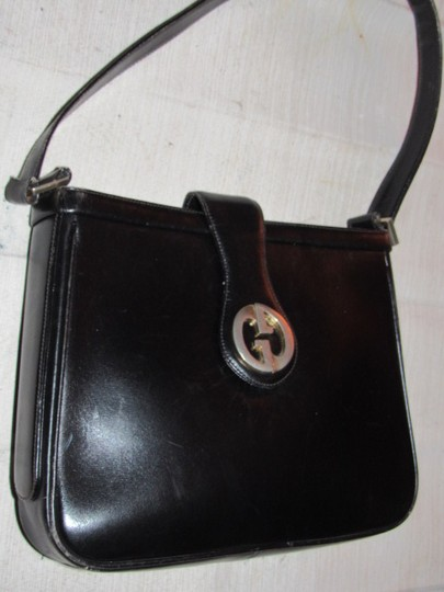 Gucci Mint Vintage Multiple Compartment Early Bold 73' Gg Accent Dressy Or Casual Satchel in black leather Image 11