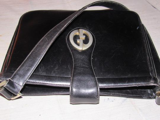 Gucci Mint Vintage Multiple Compartment Early Bold 73' Gg Accent Dressy Or Casual Satchel in black leather Image 4