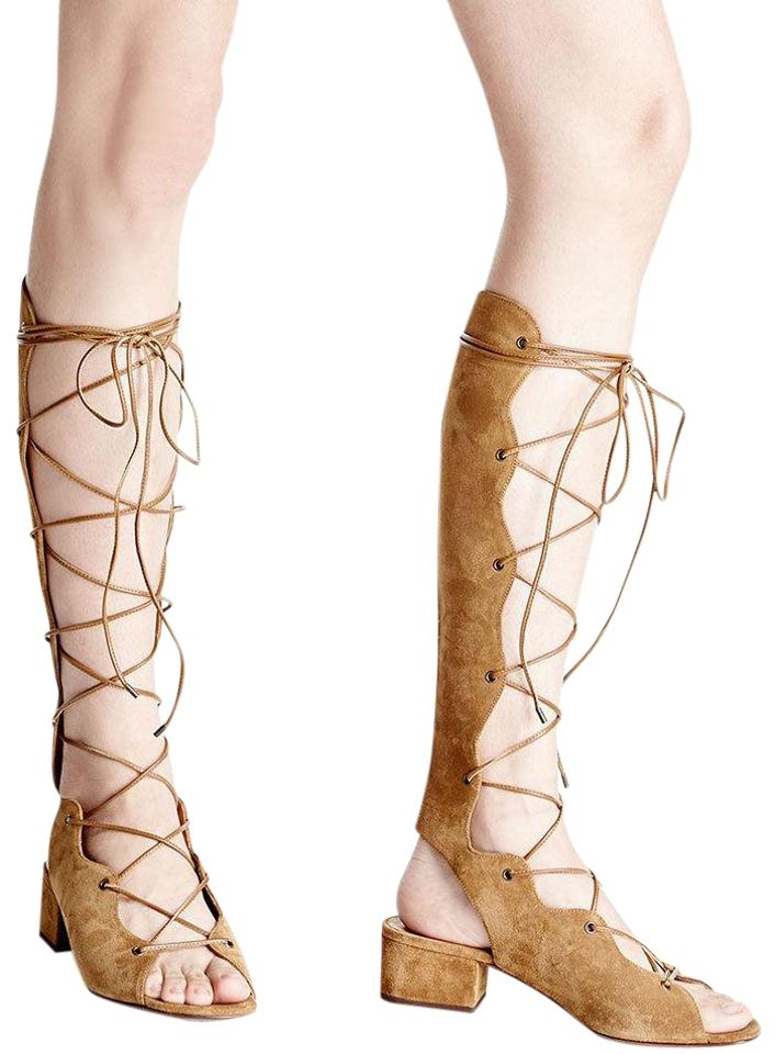 be3462b55a42 Saint Laurent Tan Suede Babies Gladiator Lace Up Knee High Sandals ...