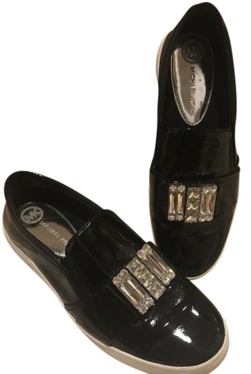 9dafa98be Michael Kors Black Patent Leather 'michelle' Embellished Slip Ons ...