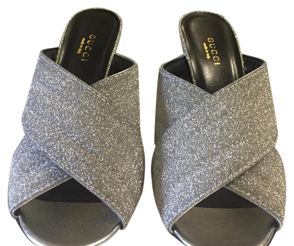cd4d243cb Gucci Metallic Silver Webby Crossover Slide Sandals Size US 7.5 ...