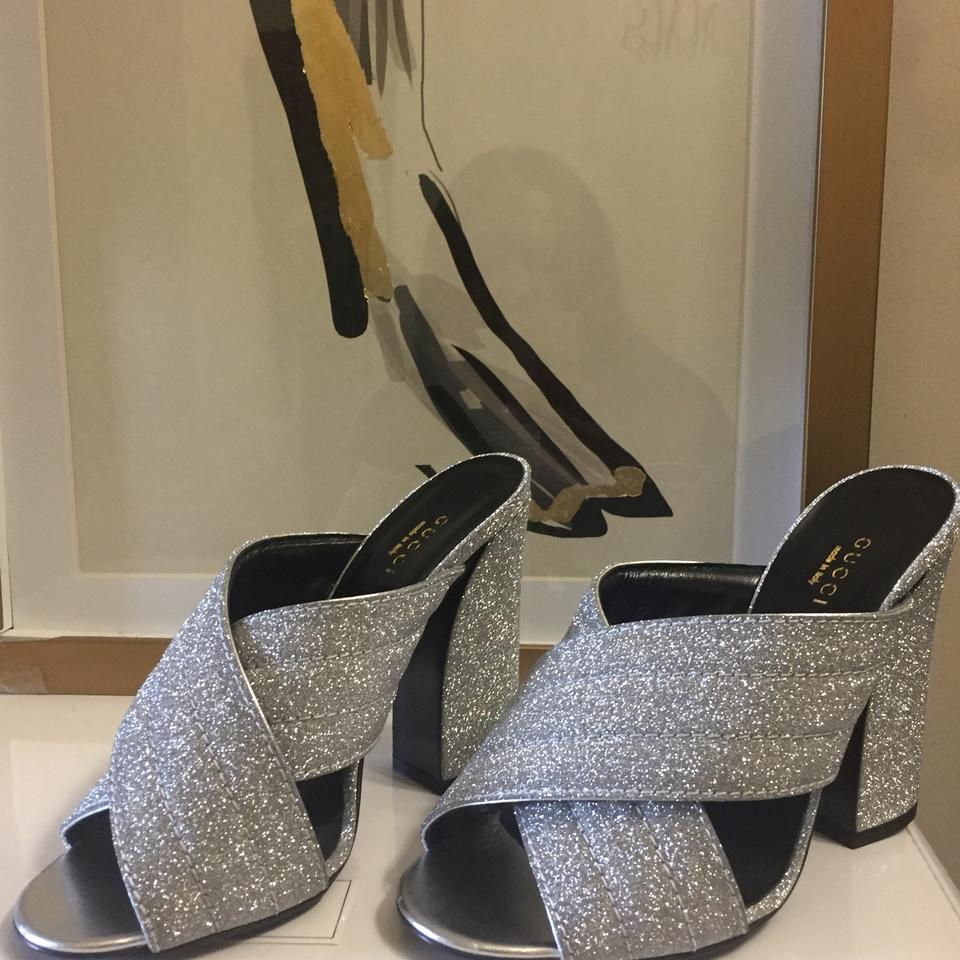 1cec1d2834f Gucci Metallic Silver Webby Crossover Slide Sandals Size US 7.5 ...