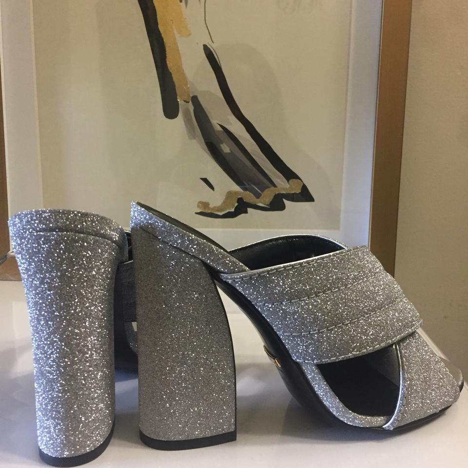 cf77aa426 Gucci Metallic Silver Webby Crossover Slide Sandals Size US 7.5 ...