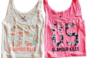 Glamour Kills Size Small White Top Pink