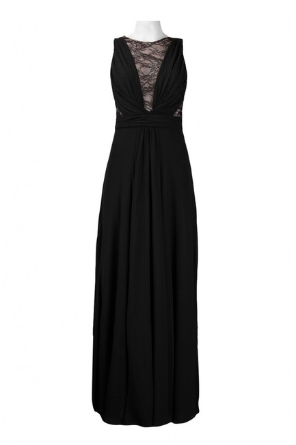 Theia Illusion Silk Gown Plunge Dress Image 1