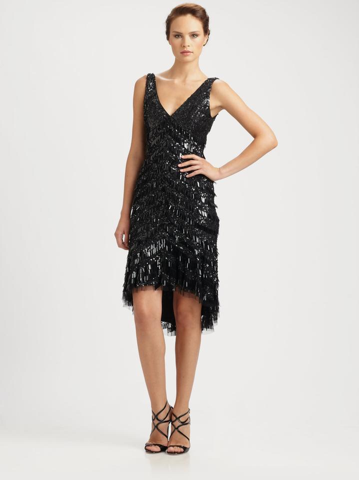 Theia Black 881259 Beaded Flapper Style Fringe High Low Mid Length