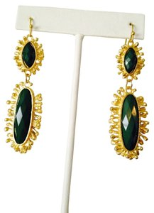 Green Onyx Gemstone In Sun-Ray Design Earrings