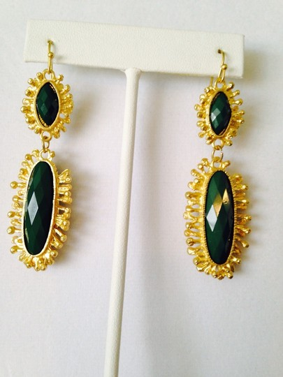Other Green Onyx Gemstone In Sun-Ray Design Earrings Image 1