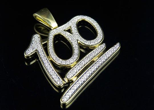 Jewelry Unlimited Men's Emoji 100 Logo Genuine Diamond Pendant Charm 2.25ct 2.0