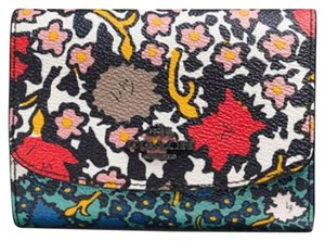 Coach MEDIUM DOUBLE FLAP WALLET IN MIXED BLUE FLORAL PRINT CANVAS