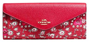 Coach Coach Slim White Cherry Red Flowers Wallet