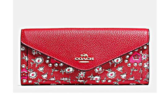 Coach Coach Slim White Cherry Red Flowers Wallet Image 4