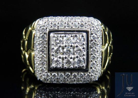 Jewelry Unlimited Men's Nugget Square Frame Genuine Diamond Engagement Ring 1.55CT Image 4