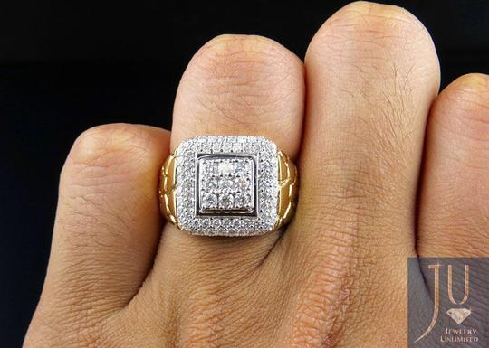 Jewelry Unlimited Men's Nugget Square Frame Genuine Diamond Engagement Ring 1.55CT Image 5