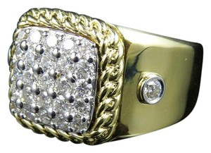 Jewelry Unlimited Men's Cuban Border Square Frame Real Diamond Pinky Ring 1.55CT