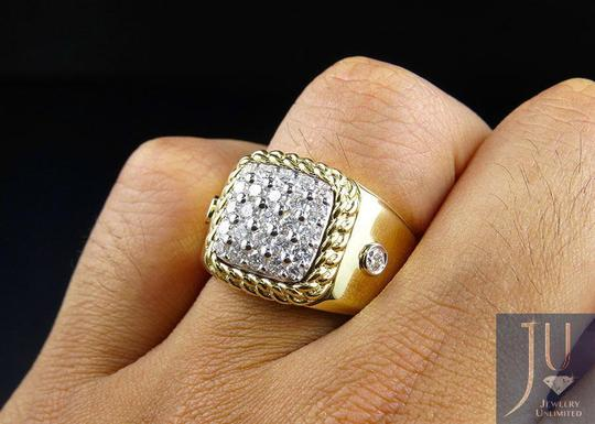 Jewelry Unlimited Men's Cuban Border Square Frame Real Diamond Pinky Ring 1.55CT Image 2