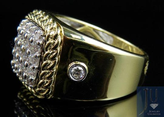 Jewelry Unlimited Men's Cuban Border Square Frame Real Diamond Pinky Ring 1.55CT Image 3