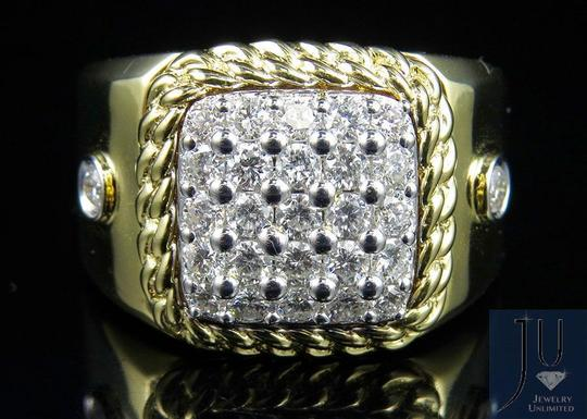 Jewelry Unlimited Men's Cuban Border Square Frame Real Diamond Pinky Ring 1.55CT Image 4