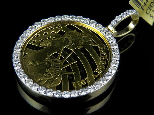 Jewelry Unlimited Gold Coin Lady Liberty Half 1/2 Ounce Diamond Pendant 2.25 Ct Image 8
