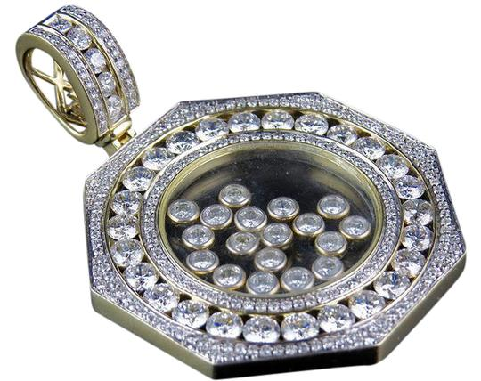 Jewelry Unlimited Medallion Floating Channel Diamond Pendant Charm 7.92ct 2.25