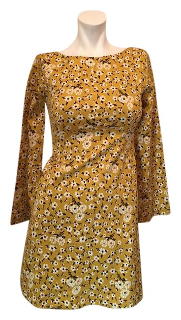 Item - Yellow Floral XS The Trafaluc Collection Shift Long Sleeve Short Cocktail Dress Size 2 (XS)