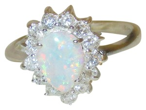 J Brand 925 Sterling Silver OVAL SHAPED REAL WHITE OPAL RING SIZE 6 7 8 9
