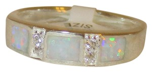 J Brand 925 Sterling Silver REAL WHITE OPAL BAND RING SIZE 6 7 8 9