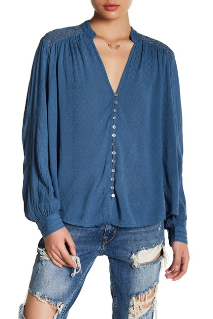 Free People Boho Embroidered Eclectic Top Image 1