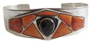 Mine Finds by Jay King Mine Finds By Jay King .925/Signed DTR Sterling Silver Orange Spiny Oyster Cuff Bracelet with Pear Shape Amethyst Center Stone fits 6