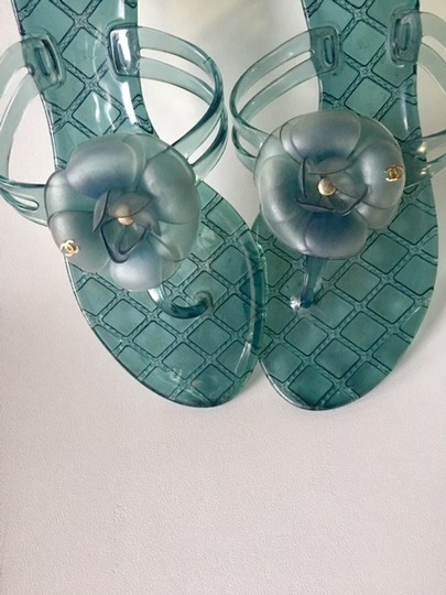 Chanel Slides Camellia Thong Jelly Flats Blue Sandals Image 3