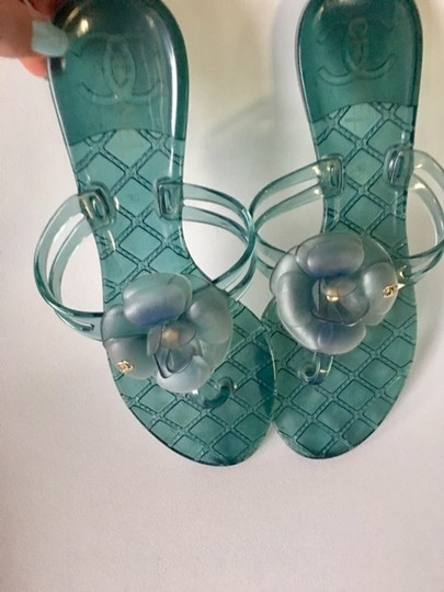 Chanel Slides Camellia Thong Jelly Flats Blue Sandals Image 4