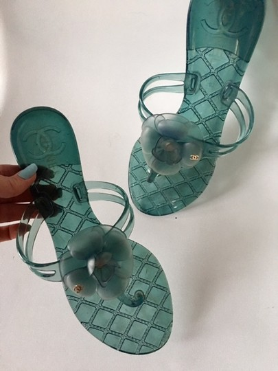 Chanel Slides Camellia Thong Jelly Flats Blue Sandals Image 5