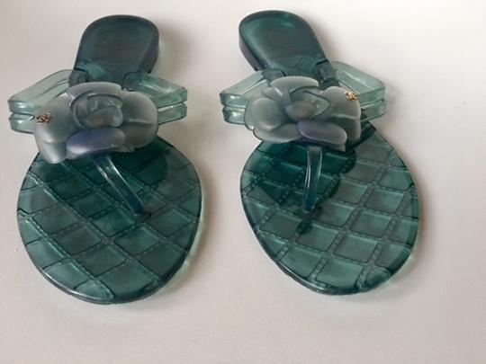 Chanel Slides Camellia Thong Jelly Flats Blue Sandals Image 6