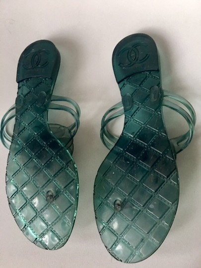 Chanel Slides Camellia Thong Jelly Flats Blue Sandals Image 7
