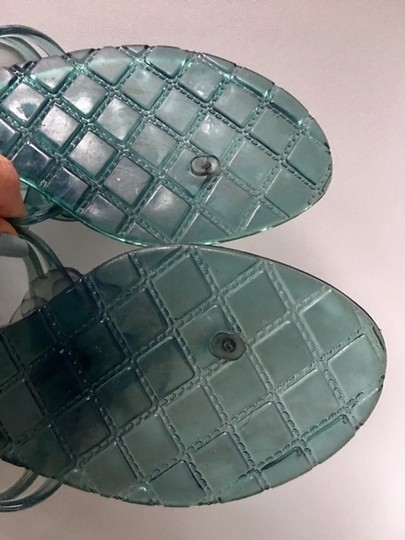 Chanel Slides Camellia Thong Jelly Flats Blue Sandals Image 8