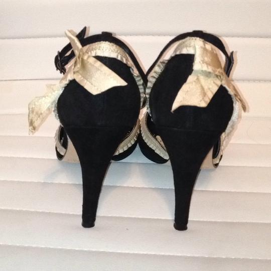 White House | Black Market Suede Peep Toe Ankle Strap Ecru Ribbon black Formal Image 1